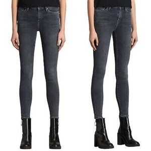 ALLSAINTS Eve Lux Grey High Waist Skinny Jeans